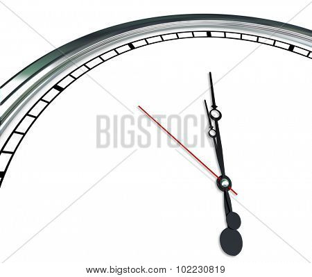 White clock face and ornate hands in blank copy space showing time for your message, text or communication
