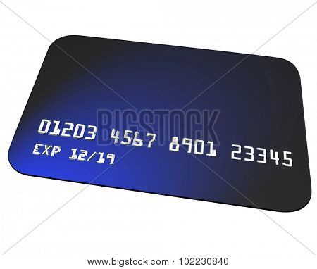 Blue plastic credit card to use for buying goods or services at a store or restaurant or online ecommerce