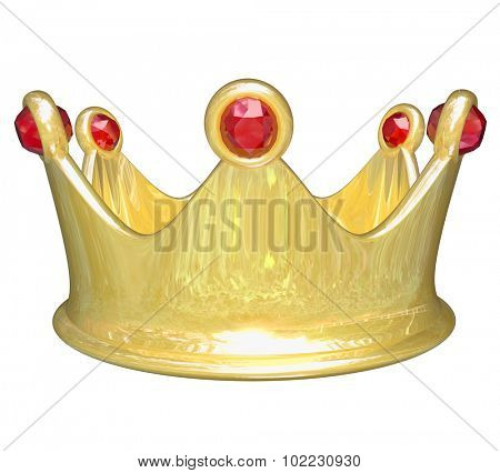 Gold crown with red jewels to illustrate royal VIP treatment as a king, queen, prince or princess