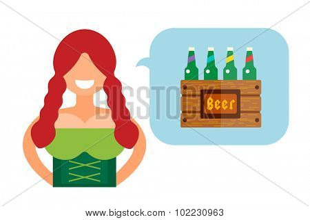 Vector illustration Oktoberfest german woman girl abstract silhouette. Comic bubble speech icon. Oktoberfest vector people. German woman girl dressed in national costume isolated. German Oktoberfest