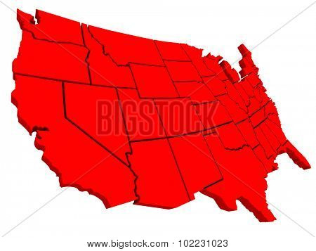 United States of America USA 3d red map background to illustrate the country or nation geography