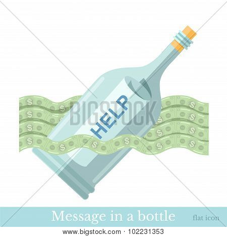 flat icon bottle with letter help on wave from bill isolated on white