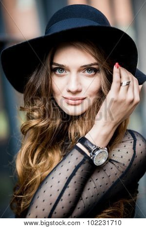Beautiful Stylish Young Woman (girl) In Dress And Hat
