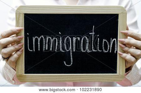 Immigration Word Written On Blackboard/chalckboard