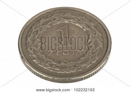 Polish coin 1 zloty - isolated.