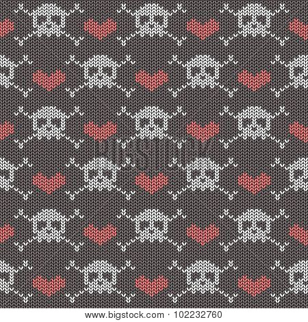 Knitted Seamless Pattern With Skulls.