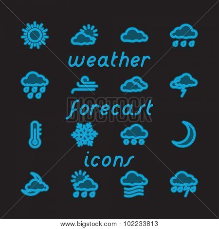Fat Line Icon set for web and mobile. Modern minimalistic flat design elements of Weather Forecast. Blue Glow on Black Background