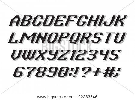 Pixel Style Alphabet font and numbers