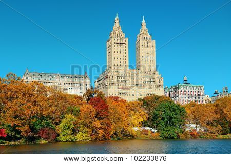 Central Park Autumn and buildings in midtown Manhattan New York City