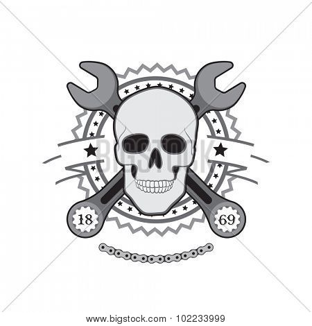 Human Skull with wrench motor club logo