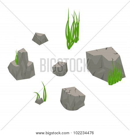 Stone rocks with grass isolated on white.
