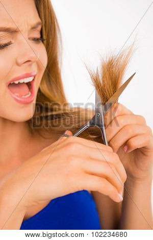 Woman Cut Her Hair. Problem Of Split Ends