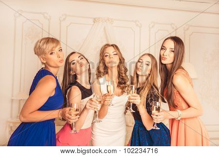 Bride With Bridesmaids Pouting Lips With Glasses