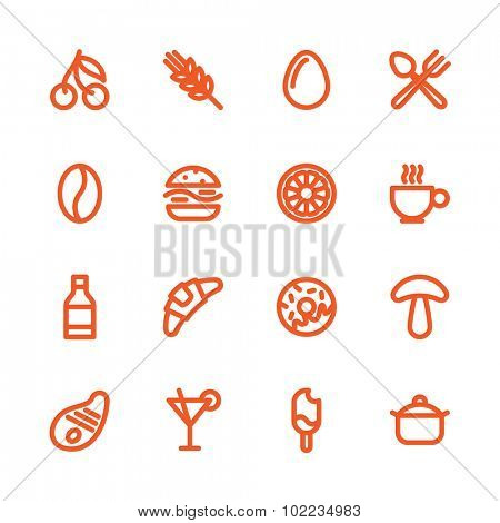 Fat Line Icon set for web and mobile. Modern minimalistic flat design elements of various meals, drinks, ingredients and kitchen utensils