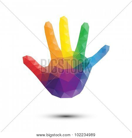 Rainbow Triangle Kid Hand Print