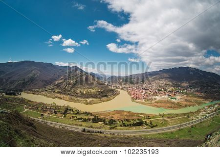 Panoramic view of Mtskheta. Georgia.