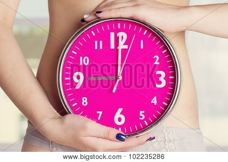 Biological Clock Ticking - Pink Watches In Female Hands. Toning