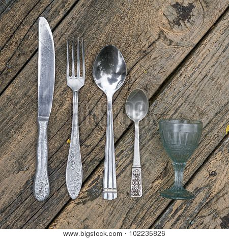 Set Of Vintage Silverware Kitchen Utensils