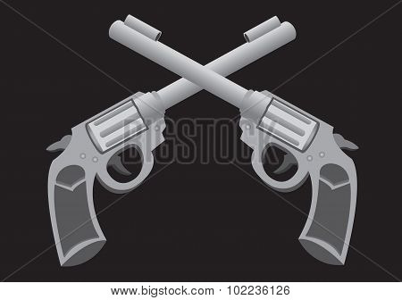 Crossed Guns Vector Illustration
