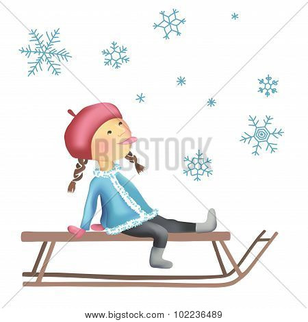 Little girl on the sled
