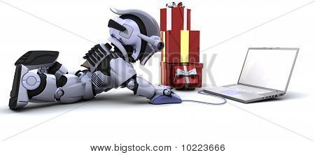 Robot Shopping For Gifts On A Computer