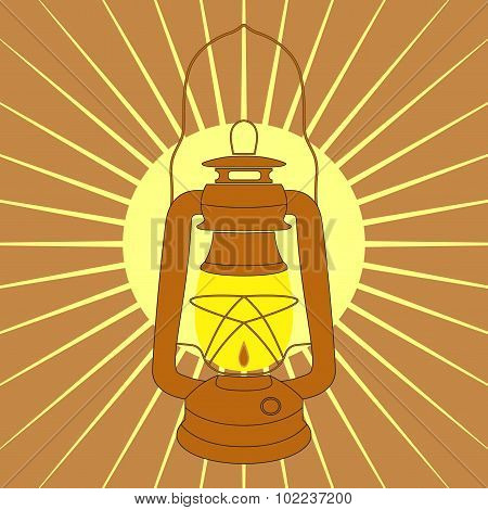 Vintage Mine Kerosene Lamp Over Yellow Sunrise Rays