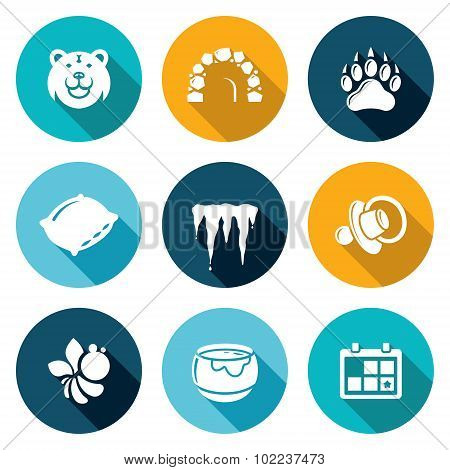 Bear Icons Set. Vector Illustration.