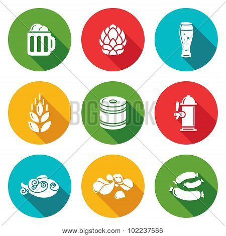 Beer And Appetizer Icons Set. Vector Illustration.
