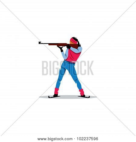 Biathlete. Girl Athlete At The Ready To Shoot With A Gun. Vector Illustration.