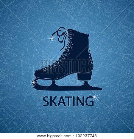 Illustration With Figure Skate.