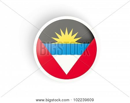 Round Sticker With Flag Of Antigua And Barbuda