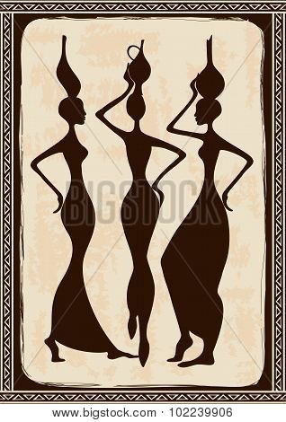 Illustration With Three Beautiful African Women.