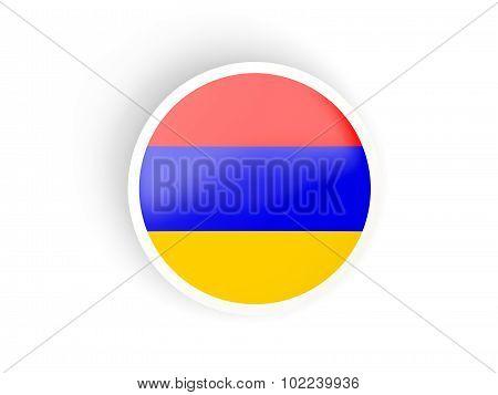 Round Sticker With Flag Of Armenia