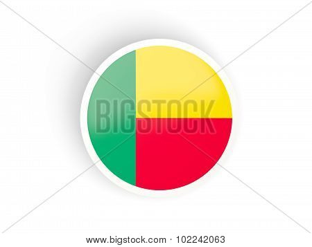 Round Sticker With Flag Of Benin
