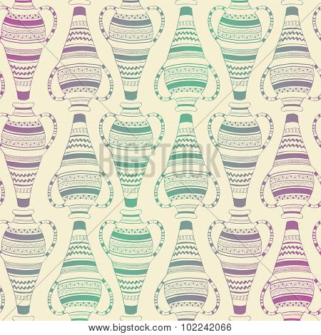 Seamless Pattern Of Ornate Vases.