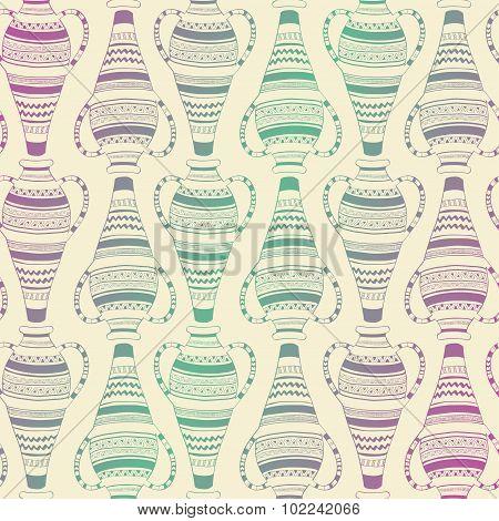 Seamless Pattern Of Ornate Vases.