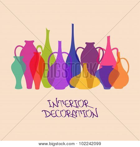 Illustration With Colorful Vases.