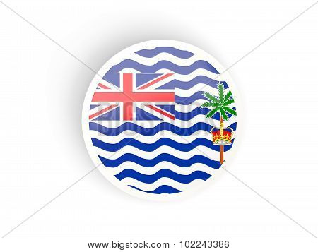 Round Sticker With Flag Of British Indian Ocean Territory