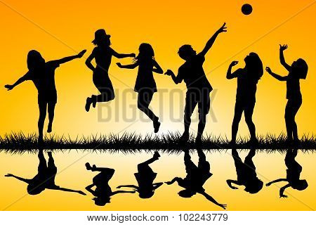 Children Playing Near A Water