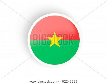 Round Sticker With Flag Of Burkina Faso