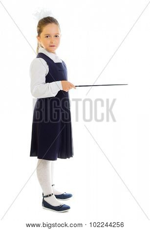 Little schoolgirl with pointing stick isolated
