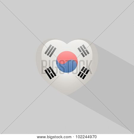 Love South Korea Symbol With Shadow