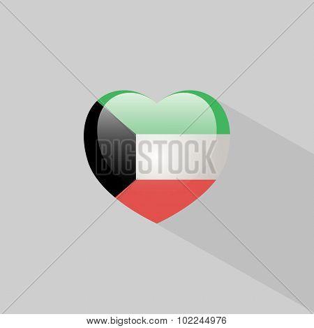 Love Kuwait Symbol With Shadow