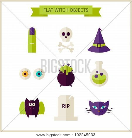 Flat Magic Halloween Witch Objects Set