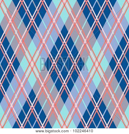 Rhombic Seamless Pattern In Blue And Pink