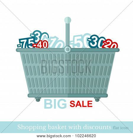flat shoping basket with discount numbers on white