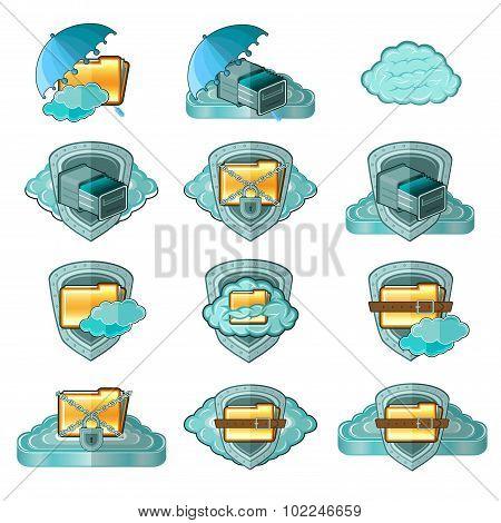 clouds web icons safe information set shield umbrella lock safe