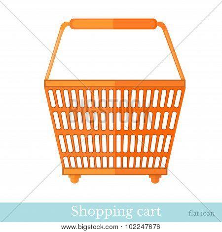 hand shoping orange basket back view flat style on white