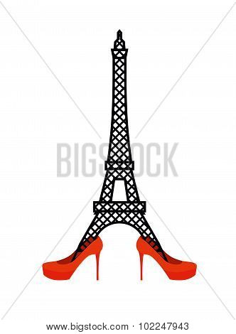 Eiffel Tower In Red Women's Shoes. Fashion Symbol Of France. Vector Logo Landmark France. Architectu