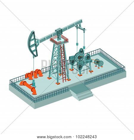 realistic oil derrick complex isolated on white